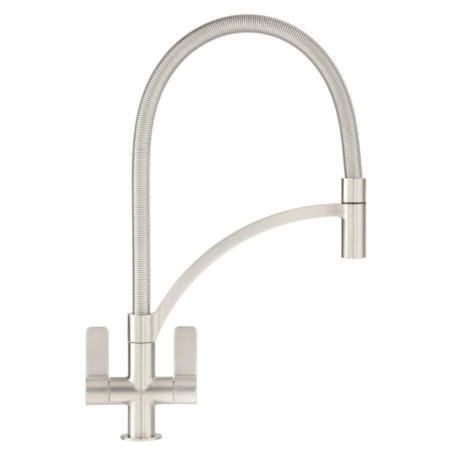 Franke Wave Twin Lever Tap With Pull-out Nozzle SilkSteel