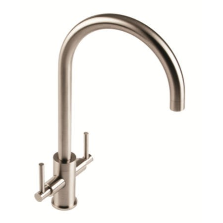 1810 Sink Company CUR/02/BS Curvato Twin Slim Lever Curved Spout Aerated Mixer Tap Brushed Steel