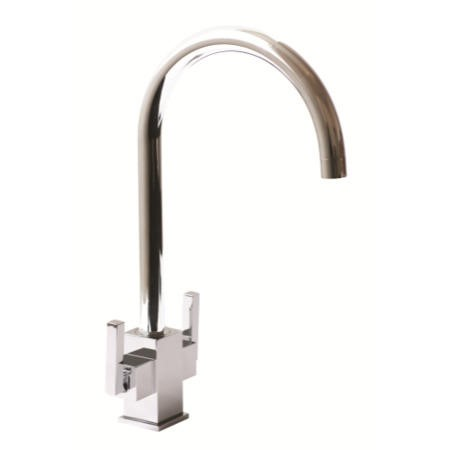 1810 Sink Company RUS/01/CH Ruscello Square Body Twin Slim Lever Aerated Mixer Tap Chrome