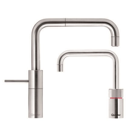 Quooker PRO3 Nordic Square Twin Taps 3 Litre Boiling Water & Mixer Tap Stainless Steel