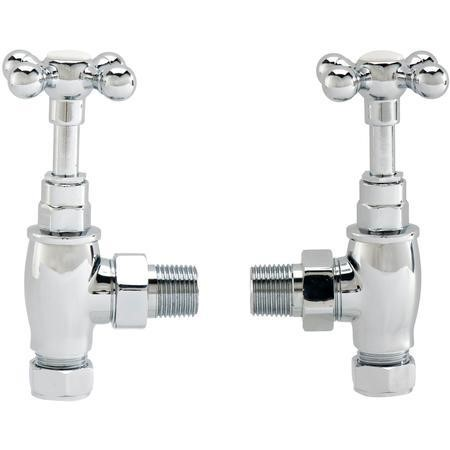 Pair of Angle Cross Head Traditional Radiator Valves