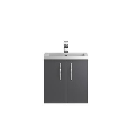 Grey Wall Hung Bathroom Vanity Unit & Basin - W505 x H540mm