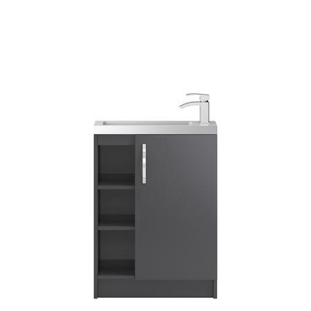 Grey Free Standing Compact Bathroom Vanity Unit & Basin - W605 x H850mm