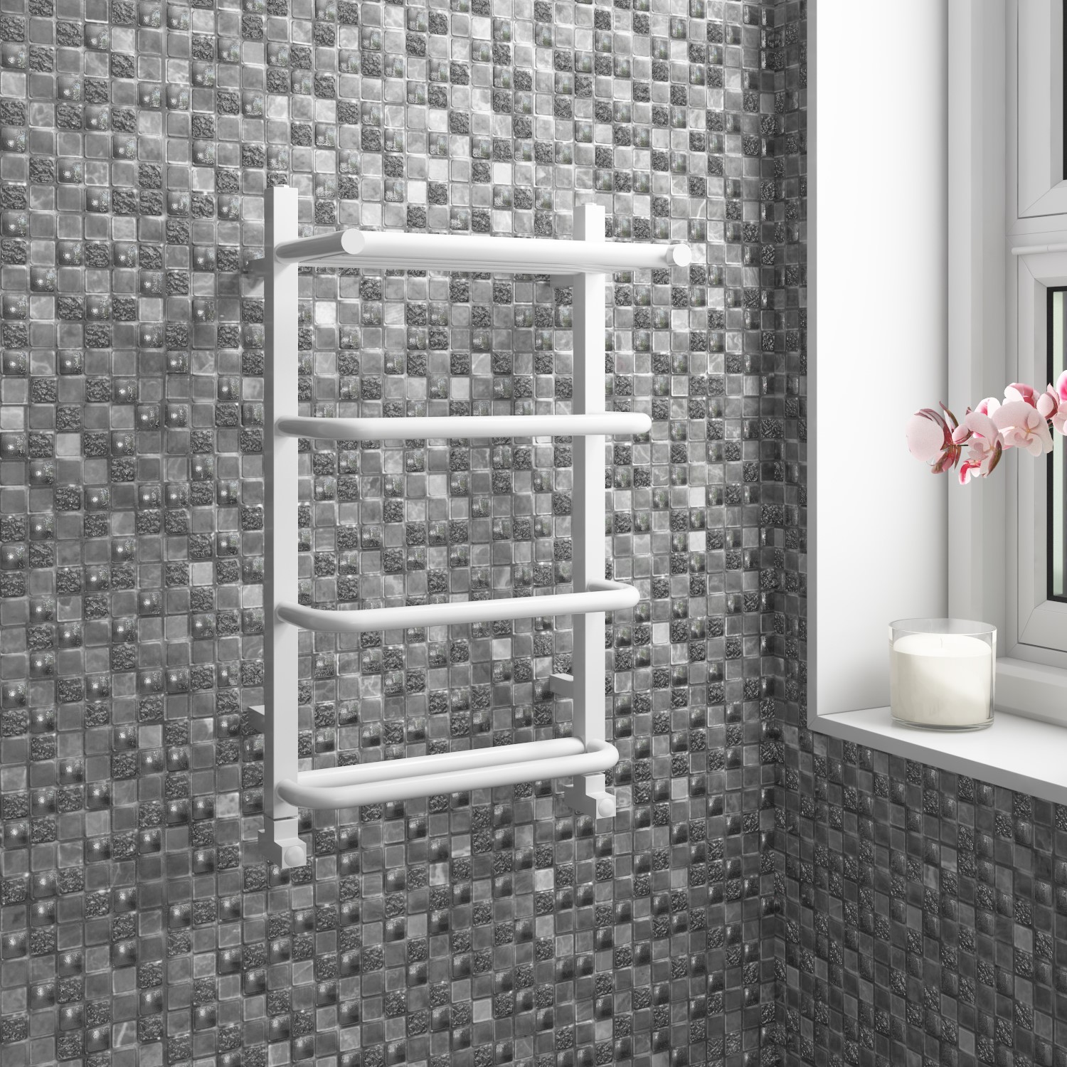 Taylor Moore White Heated Towel Rail 600 X 400mm Better Bathrooms