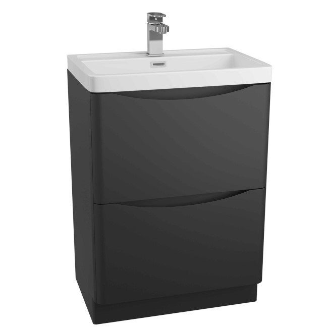 Black Free Standing Bathroom Vanity Unit & Basin - W600 x H850mm - Oakland