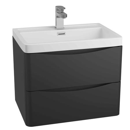 Black Wall Hung Bathroom Vanity Unit & Basin - W600 x H500mm - Oakland