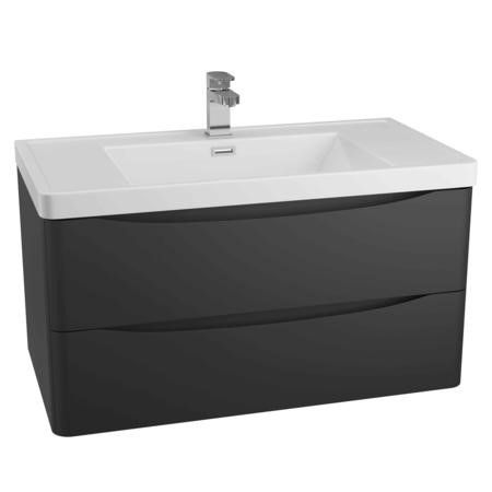 Black Wall Hung Bathroom Vanity Unit & Basin - W900 x H500mm - Oakland