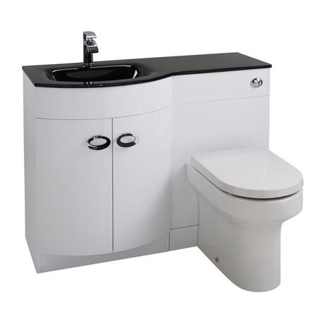 White Left Hand Vanity Unit & Black Glass Basin - Without Toilet