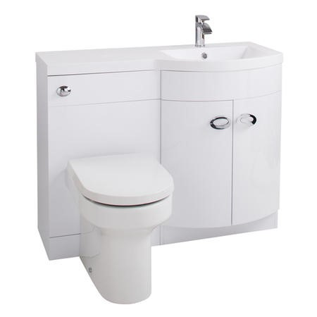 Curved White Right Hand Bathroom Vanity Unit & Basin - Without Toilet
