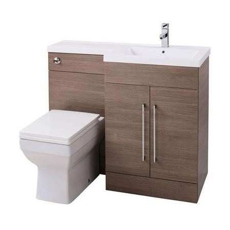 Oak Right Hand Cloakroom Suite with Mid Edge Basin - W1090mm