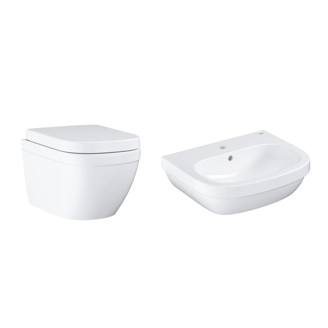 Grohe Euro Rimless Compact Wall Hung Toilet and Basin Suite