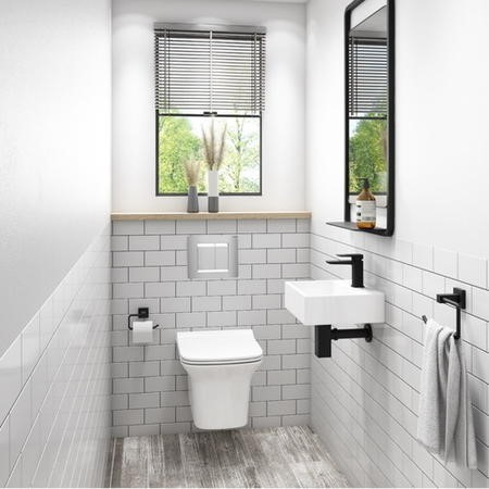 Santiago Rimless Wall Hung Toilet with Soft Close Seat and Wirquin WC Frame with Chrome Flush Plate