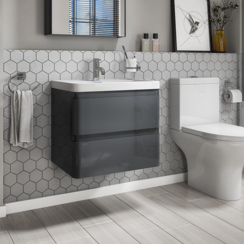 600mm Dark Grey Wall Hung Vanity Unit, Dark Grey Bathroom Vanity Unit