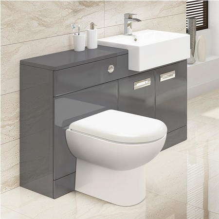 Grey Right Hand Combination Unit - Santorini Back to Wall Toilet and Seat - Cuba Range