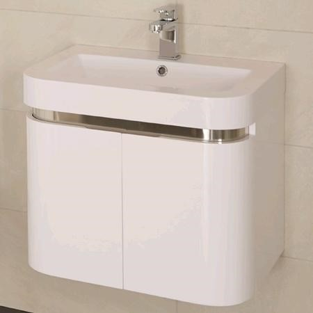 600mm Wall Hung Vanity Basin Unit - White Double Door - Murcia Range