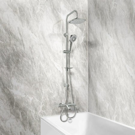 Peru Deluxe Wall Mounted Bath Shower Mixer with Vision Riser Rail Kit