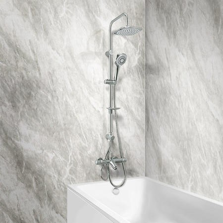 Peru Deluxe Wall Mounted Top Outlet Bath Shower Mixer with Vision Riser Rail Kit