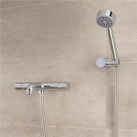Focus Thermostatic Wall Mounted Bath Shower Mixer - No Rail Kit
