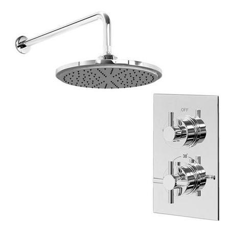 EcoStyle Thermostatic Dual Shower Valve with Round 200mm Shower Head and Wall Arm