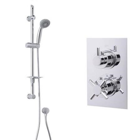 Eco Slide Shower Rail Kit with EcoStyle Dual Valve & Wall Outlet