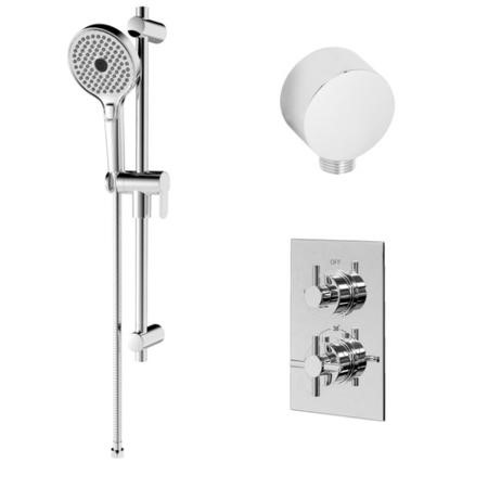 Rina Slide Shower Rail Kit with EcoStyle Single Control Thermostatic Shower Valve & Wall Outlet