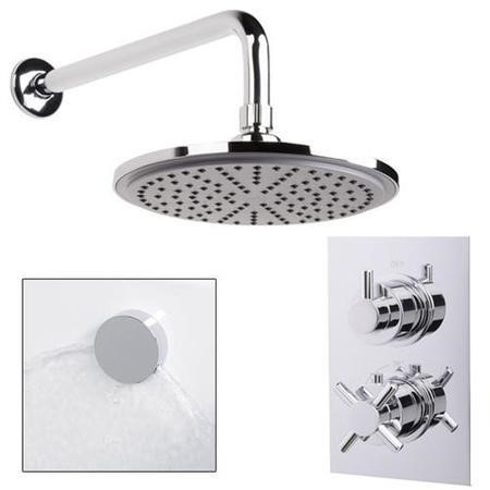 EcoStyle Dual Valve with 200mm Shower Head Wall Arm Filler & Overflow