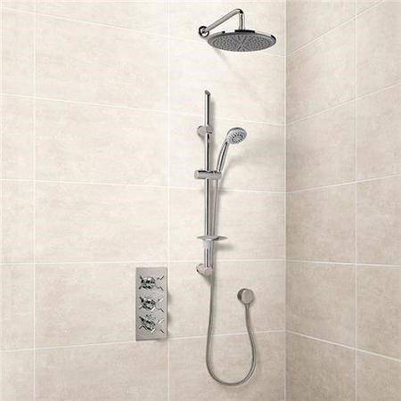 Eco Slide Shower Rail Kit with EcoStyle Triple Valve, 250mm Head, Wall Outlet, Filler & Overflow