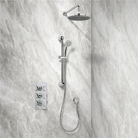 Rina Slide Shower Rail Kit with EcoStyle Triple Valve 200mm Head Wall Outlet Filler & Overflow
