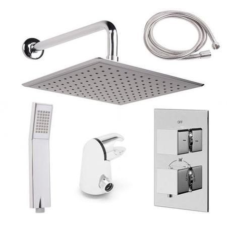 EcoCube Dual Valve with Handset, 200mm Square Shower Head & Wall Outlet