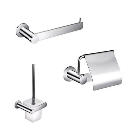 3 Piece Accessory Pack - Towel Ring Toilet Paper Holder & Lid & Toilet Brush & Holder - Riverno Range