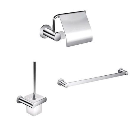 3 Piece Bathroom Accessory Pack - Paper Holder Towel Rail & Toilet Brush - Riverno Range