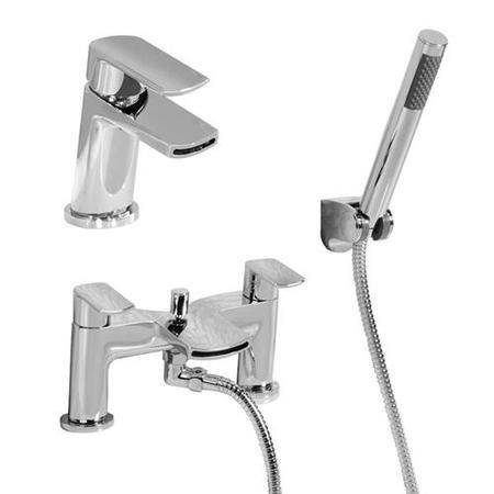 Voss Waterfall Basin Mixer and Bath Shower Mixer Tap Pack