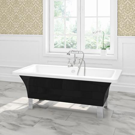 Athena Freestanding Double Ended Bath Black with Chrome Feet - 1600 X 750mm