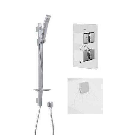 Quadro Slide Shower Rail Kit with EcoCube Dual Valve, Wall Outlet, Filler & Overflow