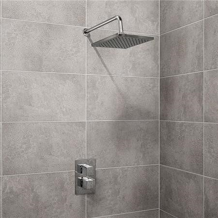 EcoCube Dual Valve with 200mm Square Shower Head Filler & Overflow