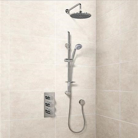 Eco Slide Shower Rail Kit with EcoS9 Triple Valve, 200mm Head, Wall Outlet, Filler & Overflow