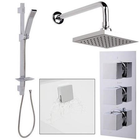 Quadro Slide Shower Rail Kit with EcoCube Triple Valve, 150mm Square Head, Wall Outlet, Filler & Overflow