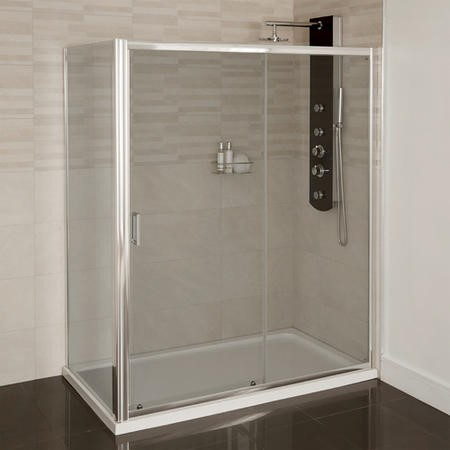 Aqualine 4mm 1600 x 800 Sliding Door Shower Enclosure