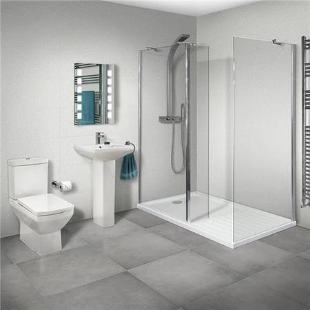 Aqualine 8mm 1400 x 800 Walk In Enclosure & Ultralite Shower Tray with Tabor Suite