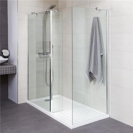 AquaLine Walk In Shower Enclosure with Shower Tray and Panel - 1400 x 800mm - 8mm Glass