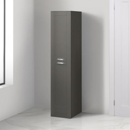 1400mm Floor Standing Storage Unit - Grey Tall Boy Unit Traditional Handle - Nottingham Range