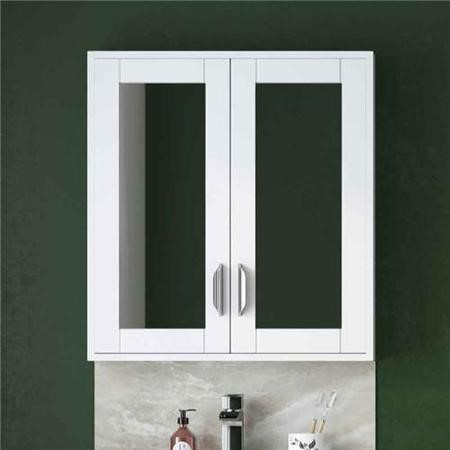 Wall Hung Mirrored Bathroom cabinet - White Modern Handle - Nottingham Range