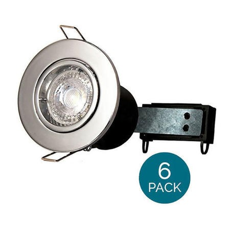6 Pack - Fixed Fire Rated Downlight - Chrome Twist & Lock
