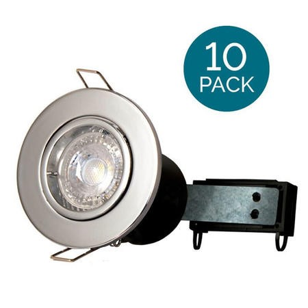 10 Pack - Fixed Fire Rated Downlight - Chrome Twist & Lock