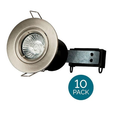 10 Pack - Fixed Fire Rated Spotlight - Brushed Steel Twist & Lock