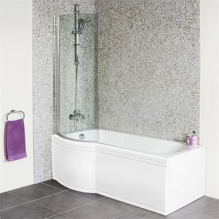 P Shaped 1675 Left Hand Shower Bath  Front Panel and 6mm Hinged Shower Screen