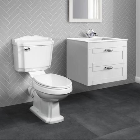 Nottingham White 600mm Two Drawer Wall Hung Vanity Unit with Victoriana Toilet