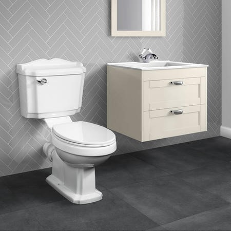 Nottingham Ivory 600mm Two Drawer Wall Hung Vanity Unit with Victoriana Toilet