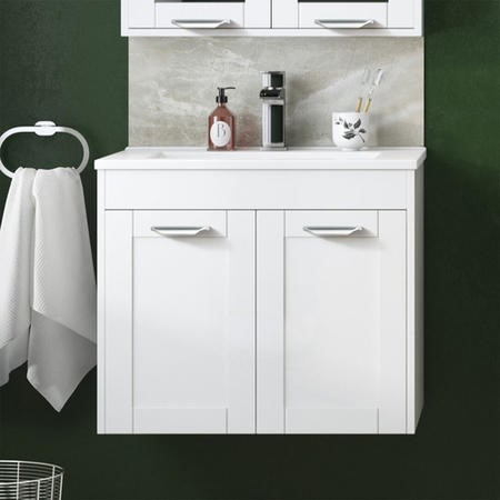 600mm Wall Hung Basin Vanity Unit - White Double Door Modern Handles - Nottingham Range