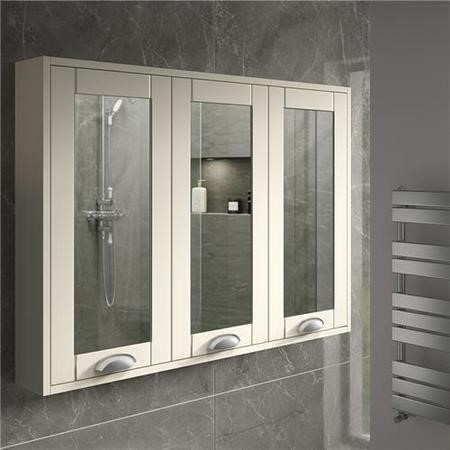900mm Wall Hung Mirrored Cabinet - Ivory 3 Door Traditional Handles - Nottingham Range